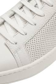 santoni white perforated leather sneaker