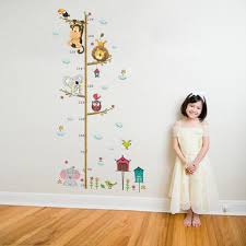 Baby Girl Height Measure Stickers For Children Girl Zoo Owl Elephant Monkey Wall Decoration Growth Chart Wall Decor Cool Kids Presents Good Gifts For