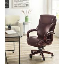 la z boy hyland coffee brown bonded leather executive office chair inside cur wood and leather