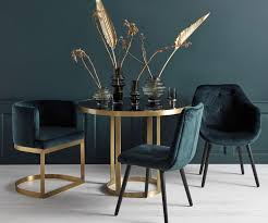 Gold metal dining table 100cm with glass top by Nordal - New design