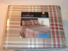 cuddl duds bedding heavyweight cotton flannel tan plaid full size sheet s