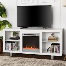 contemporary fireplace tv stand. Walker Edison Furniture Company 58 In Simple Modern Fireplace TV Console White And Contemporary Tv Stand