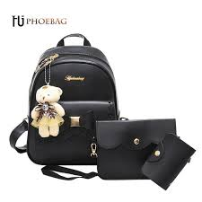 <b>HJPHOEBAG</b> Women backpack 3 Piece set PU leather lady laptop ...