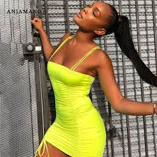 ANJAMANOR Neon Pleated Bandage <b>Sexy</b> Dress Club Wear ...