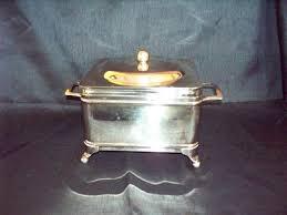 vintage depression glass bread box silver metal stand