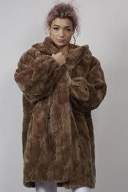 vintage 80 s light brown hooded faux fur coat