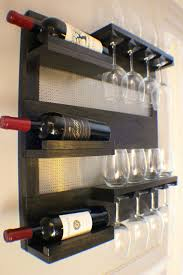 stained wall mounted wine rack