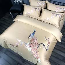 navy solid color duvet cover embroidered home textile bedding sets solid color 4pcs pea duvet cover