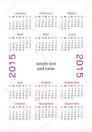 Small Pocket Calendar 2015 With A Place For A Simple Text And