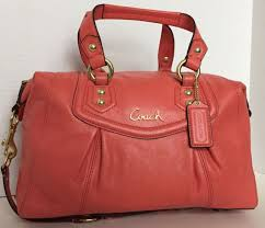 NWT COACH ASHLEY LEATHER ORANGE CONVERTIBLE TRAVEL SATCHEL TOTE BAG F19247