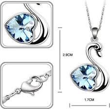 austria swarovski blue heart crystal swan pendant necklace for women