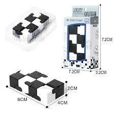 infinity cube 3. two colors infinity cube mini fidget magic for stress relief - black + white 3 g