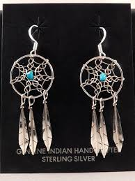 Dream Catcher Earing Interesting Native American Navajo Made Sterling Silver Dreamcatcher Earrings