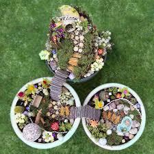 three fairy gardens in a birds eye view