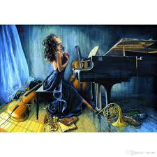 2018 paintings girl playing piano handmade y woman oil painting modern art still life for home decoration from reeme 126 64 dhgate com