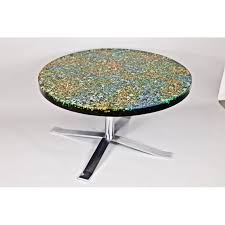 round coffee table giraudon stone resin with glass inclusions 60s design market
