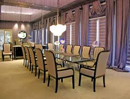 elegant formal dining room with elegant chairs gl table and purple curtains the best designs