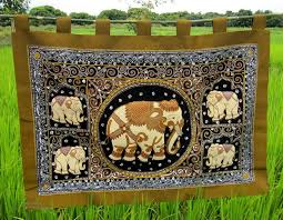 large intricate hill tribe made thailand elephant wall hanging approximately 36 high 54 wide