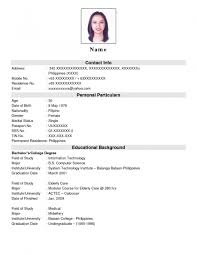 Resume Format Sample Philippines Therpgmovie
