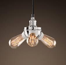 bare bulb lighting. bare bulb filament triple pendant polished nickel utility pendants restoration hardware lighting