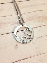 personalised hand stamped heart design name family circle pendant necklace original bling madeit com au