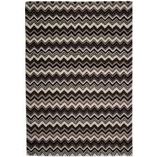 prevnext hand tufted zig zag wool rug in black and white
