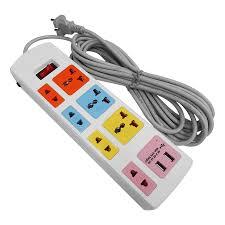 Ổ Cắm Điện Honjianda Loại 7 Ổ Có 2 Cổng USB - HJD-0448B-2U (Dây Dài 3m) -  Giao màu ngẫu nhiên - Ổ cắm điện