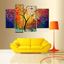 handmade modern abstract art oil painting morning tree wall decor canvas thick 4 piece set pictures on modern abstract art oil painting wall decor canvas with handmade modern abstract art oil painting morning tree wall decor