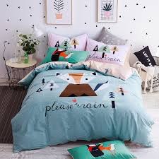 aliexpress com keluo cartoon fox dog parrot bedding set queen twin size 100 cotton duvet cover sets bed sheet bedspread from reliable sheets