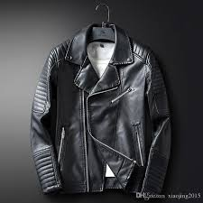 new arrival mens faux black leather jackets for men slim fit casual coat hombre biker jacket blue faux leather trench coat windbreaker leather jackets
