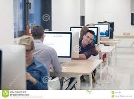 developer office. Startup Business, Software Developer Working On Desktop Computer. Busy, Office. Office