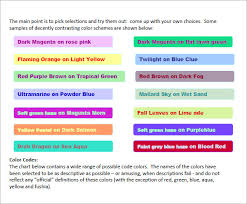 Html Color Chart With Names Free 7 Sample Html Color Code Chart Templates In Free