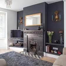black dramatic living room decorating
