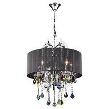 plc 34112 torcello colored crystal shaded chandelier 34112 pc pc lamp 5 x not included finish polished chrome asfour handcut crystal shade black