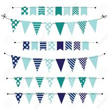 Blue Blank Banner Bunting Or Swag Templates For Scrapbooking