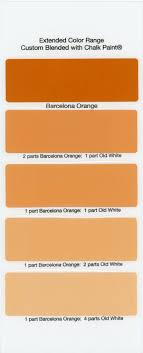 Shades of orange paint Apricot Barcelonaorange Lushome Chalk Paint Sample Board Colors All In Row The Purple Painted Lady