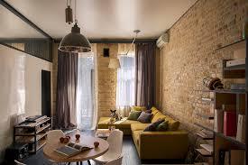 small loft furniture. Modern Living Room With Brick Wall Small Loft Furniture