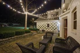 string party and backyard lighting