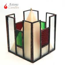 astons candles stained glass candle holder with soya wax candle castellated