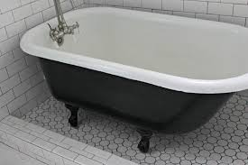 Bathroom Black White Clawfoot Tub With Cast Iron Remodel Shower Painting Bathtub Black