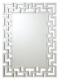 901786 interlocking squares border rectangular frameless decorative wall mirror
