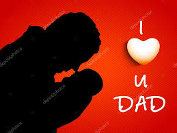 silhouette of a father and child with text i love you dad on re stock