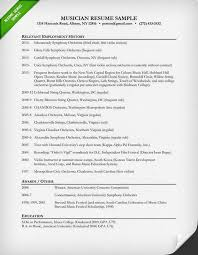 Sample Musician Resume Music Resume Template Barraques Org