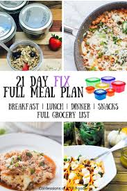 Weekly Meal Planning For One 21 Day Fix Meal Plan Grocery List 52 Jan You Ary 5 Day