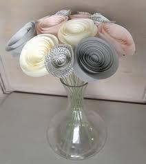 Paper Flower Centerpieces At Wedding Paper Flowers Stemmed Blush Pink Cream Gold Light