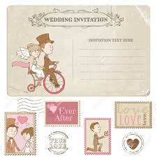 Wedding Postcard And Postage Stamps For Wedding Design Invitation