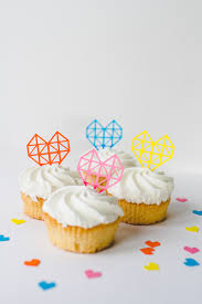 Diy Geometric Heart Cake Toppers A Little Craft In Your Day