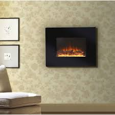 black modern frame wide wall mount electric glass fireplace on fl pattern wallpapered walls with light brown laminate hardwood flooring beige fabric