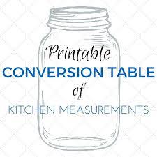 Conversion Table Printable Kitchen Measurements