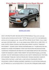 Chevy Blazer 1995 2004 Service Repair Manual by FeliciaDailey - issuu